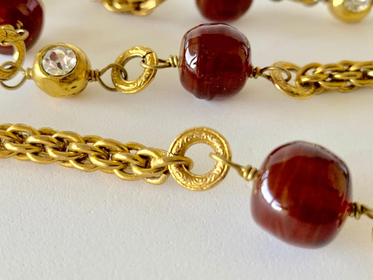 Coco Chanel Gilt Red Triple Strand Diamante Statement Necklace For Sale 10