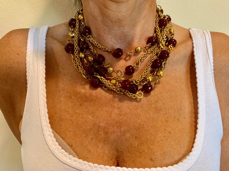 Coco Chanel Gilt Red Triple Strand Diamante Statement Necklace For Sale 3