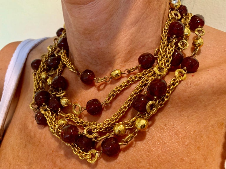 Coco Chanel Gilt Red Triple Strand Diamante Statement Necklace For Sale 4