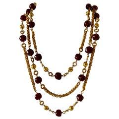 Coco Chanel Triple Strand Cranberry Diamante Statement Necklace