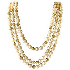Coco Chanel Vintage Triple Strand Pearl Diamante Statement Necklace