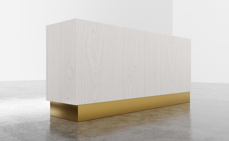 COCO CREDENZA - Modern White Oak with Polished Bronze Inlay In New Condition For Sale In Laguna Niguel, CA