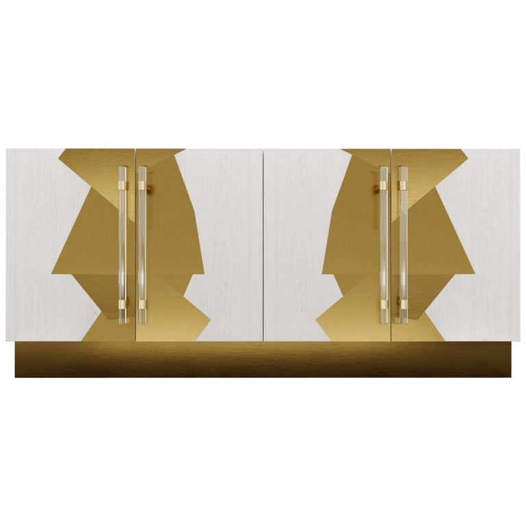 COCO CREDENZA - Modern White Oak with Polished Bronze Inlay For Sale