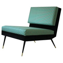 Cocò, Geometric-Shaped Armchair with Vintage Look - Green