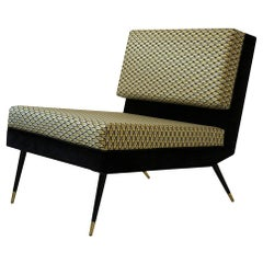 Cocò, Geometric-Shaped Armchair with Vintage Look, Gold
