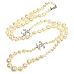 coco mark  Costume Pearl  long  metal  necklace