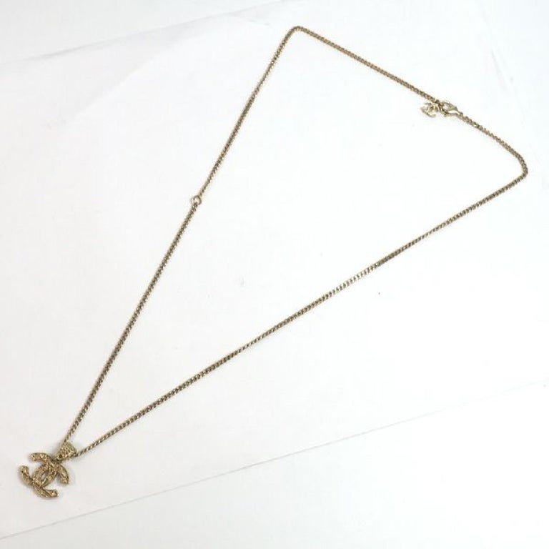 coco mark  pendant GP  necklace  Mat gold Leather For Sale 2