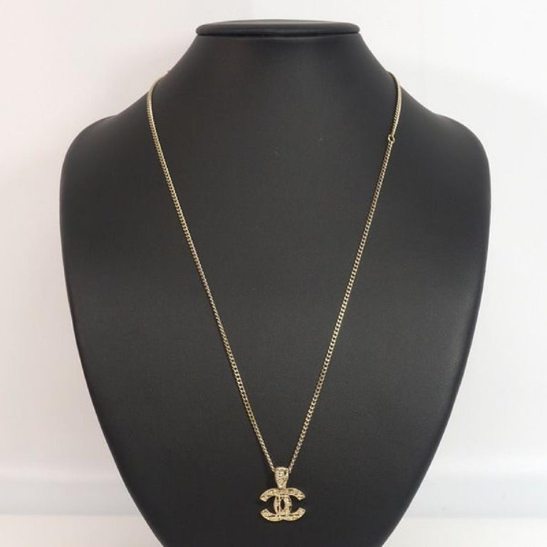 coco mark  pendant GP  necklace  Mat gold Leather For Sale 3