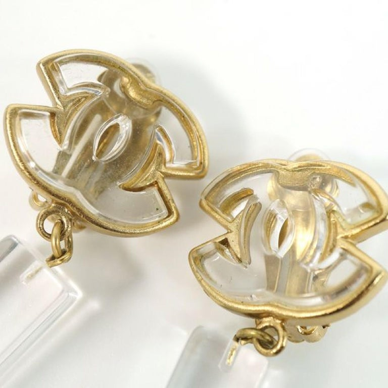 Women's coco mark  Swing GP  plastic  Womens  earrings  gold x clear Leather For Sale
