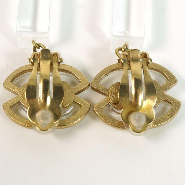 coco mark  Swing GP  plastic  Womens  earrings  gold x clear Leather For Sale 1