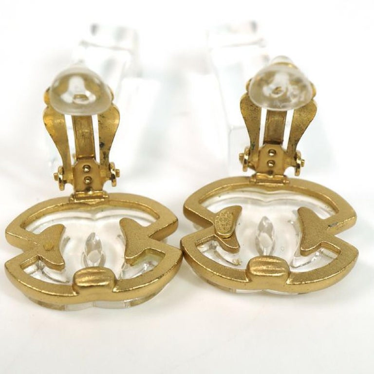 coco mark  Swing GP  plastic  Womens  earrings  gold x clear Leather For Sale 2