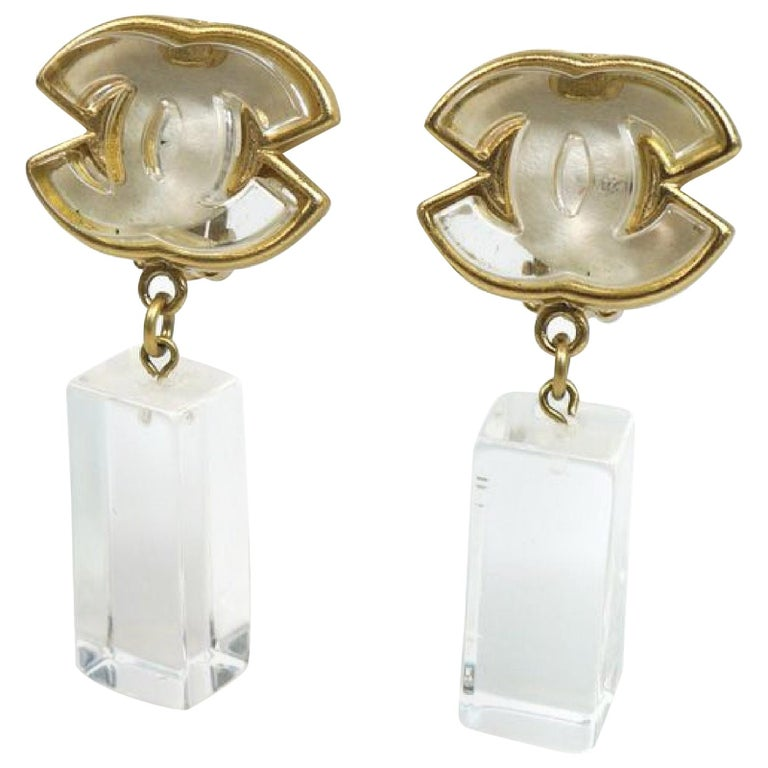 coco mark  Swing GP  plastic  Womens  earrings  gold x clear Leather For Sale