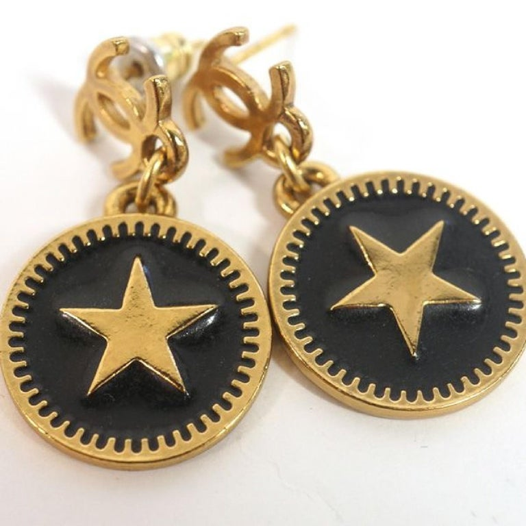 coco mark  Swing  star GP  Womens  Earrings  gold x black Leather In Good Condition For Sale In Takamatsu-shi, JP