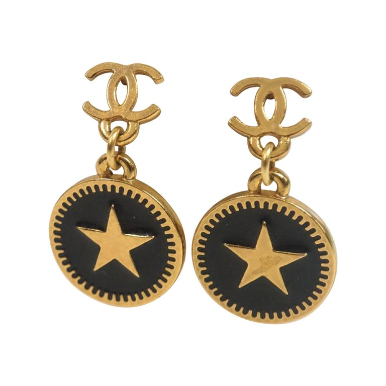 coco mark  Swing  star GP  Womens  Earrings  gold x black Leather For Sale