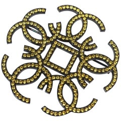 coco mark  yellow stone  metal  brooch  black x yellow Leather