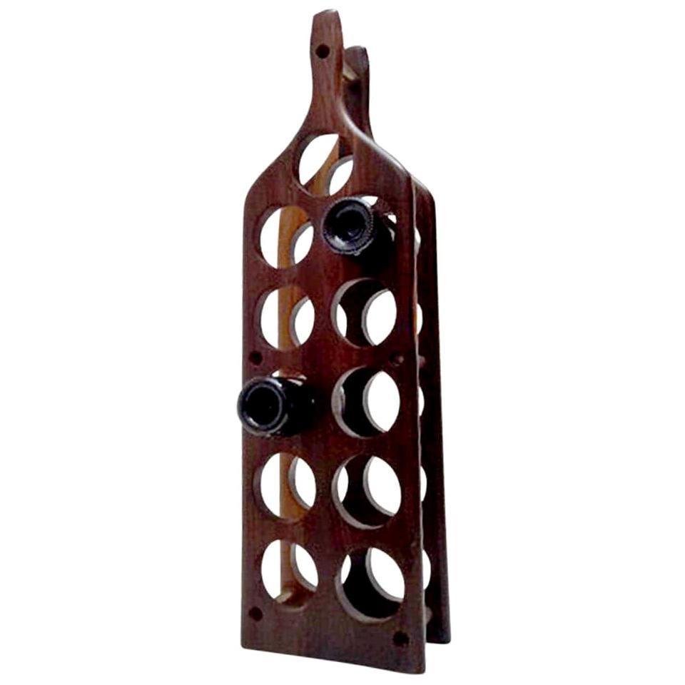 Wine Bottle Shaped Wine Rack Holder Exotic Cocobolo Don Shoemaker MEXICO 1960s