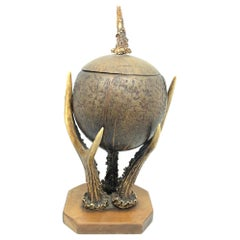 Coconut and Deer Antler Trophy Catchall 1890s, Vienna, Austria