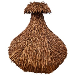 Large Coconut Shell Woven Vase