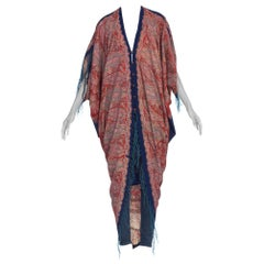 MORPHEW COLLECTION Paisley Wool Cocoon Duster Made From Victorian 1890S Fabric