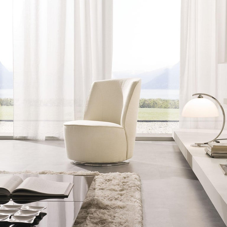 Italian Cocoon Ivory Swivel Chair For Sale