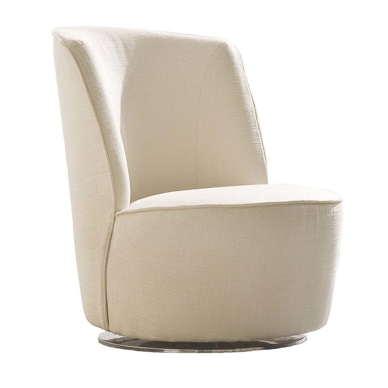 Cocoon Ivory Swivel Chair For Sale