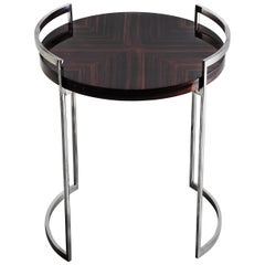 Cocteau, Side Table in High Gloss Macassar and Hand Polished Stainless Steel