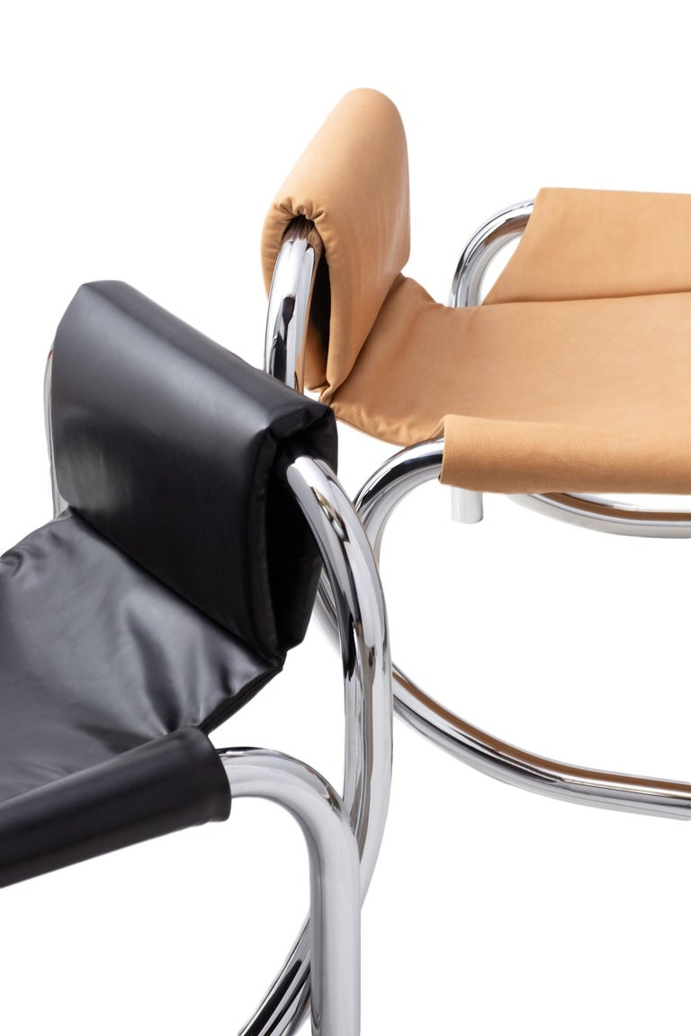 Coda Polished Chrome Frame with Cushioned Black Leather Sling Chair For Sale 3