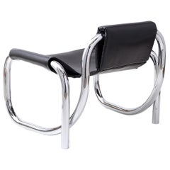 Coda Polished Chrome Frame with Cushioned Black Leather Sling Chair