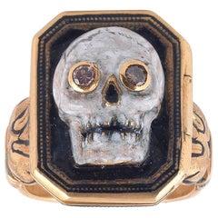 Codognato Enamel Diamonds Gold Skull Poison Ring