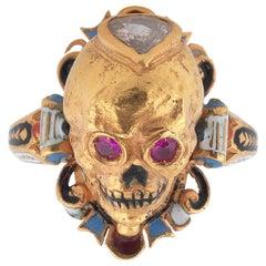 Codognato Enamel Ruby Diamond Skull Ring