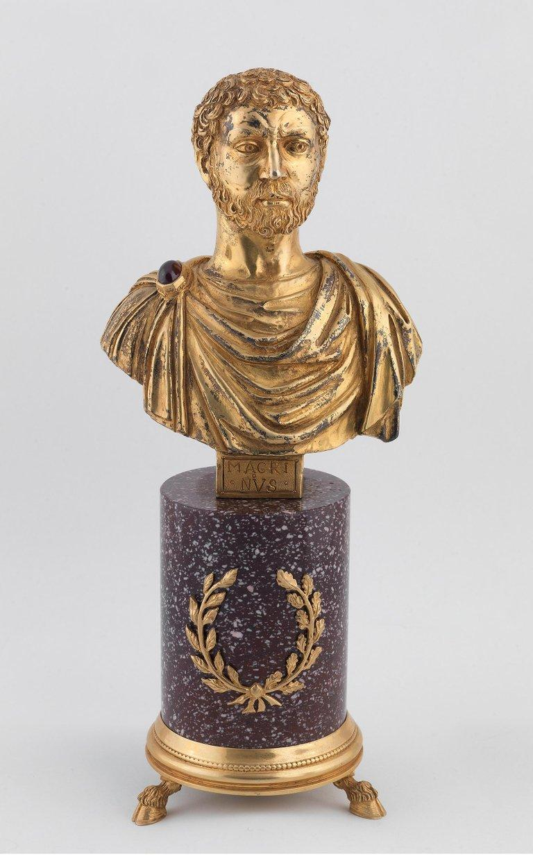 Classical Roman Codognato Large Four Italian Silver-Gilt and Hardstone Busts of Roman Emperors For Sale