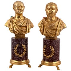 Codognato Large Pair Italian Silver-Gilt and Hardstone Busts of Roman Emperors
