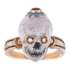Codognato Renaissance Style Enamel Diamond Ruby Gold Skull Ring
