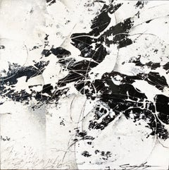 Black & White Abstract. Contemporary Expressive Original Painting on wood panel