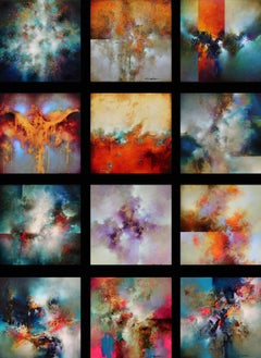 "Cody Hooper. ""Abstract Collection"" Vibrant set of 12 panels: unique wall display"
