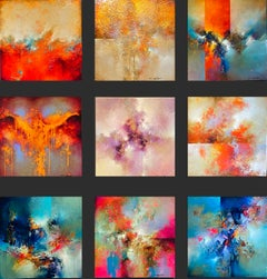 "Cody Hooper. ""Abstract Collection"" Vibrant set of 9 panels: unique wall display"