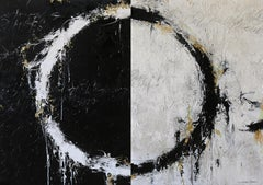"Cody Hooper. ""Alternate Dreams"" Expressive Abstract, Black, White, Gold Painting"