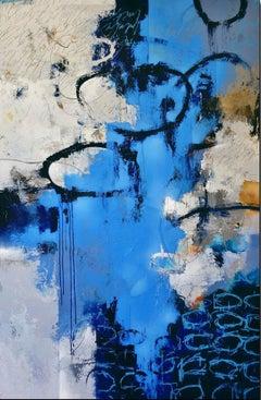 "Cody Hooper. ""Echoes"" 63"" x 43"" Contemporary Original mixed media painting."