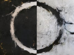 "Cody Hooper. ""Interconnected Dreams"" Expressive Abstract, Black & White Diptych."