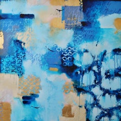 """The Fabric of Time"" Large Original Blue and Gold Abstract Painting"