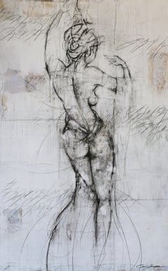 "Cody Hooper.60"" x 40"" Modern Original Nude Figurative Abstract Charcoal Painting"