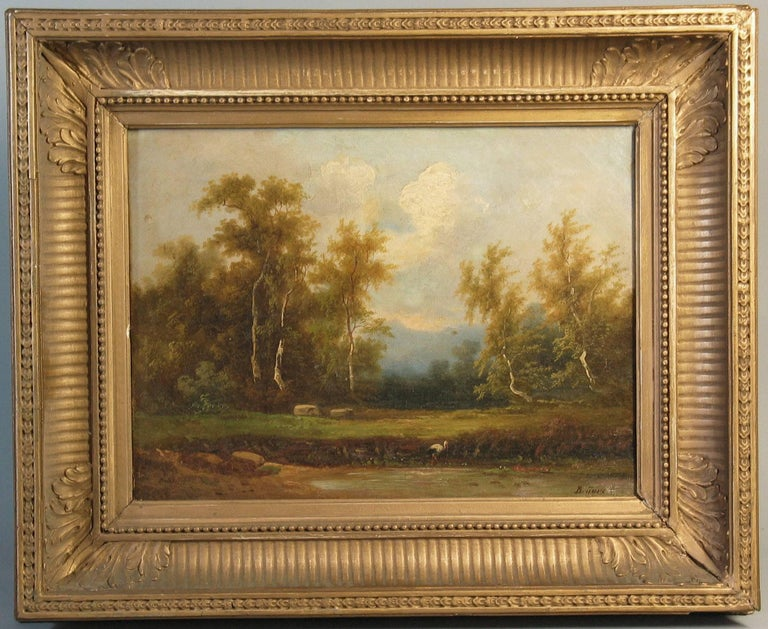 Georgian Coelestin Brugner Landscape with a Stork by the Water For Sale
