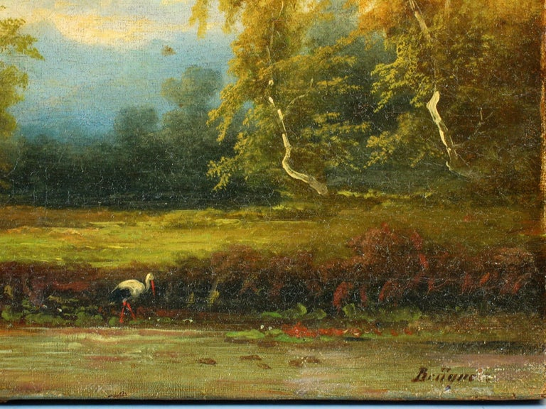 Hand-Painted Coelestin Brugner Landscape with a Stork by the Water For Sale