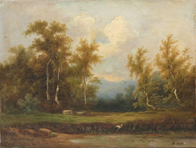 19th Century Coelestin Brugner Landscape with a Stork by the Water For Sale