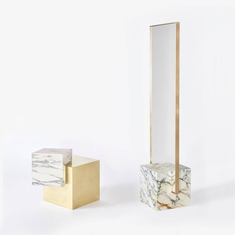 Brushed Coexist Askew Marble and Brass Side Table by Slash Objects, Made in USA For Sale