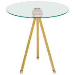 Cocktail table in Blown Murano Glass Amber Color and Brass finishes contemporary