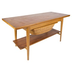 Coffee- and Sewing Table in Oak and Teak of Danish Design from the 1960s