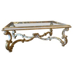 Coffee/Cocktail Table French Style with Giltwood and Cream Paint, Beveld Glass