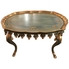 Coffee or Cocktail Table, Italian, Oval Painted with Gold Gilt Trim