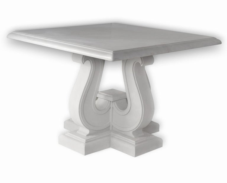 Arts and Crafts Square Coffee Table White Marble Top handmade  Lyre white Lacquered Wooden Base  For Sale